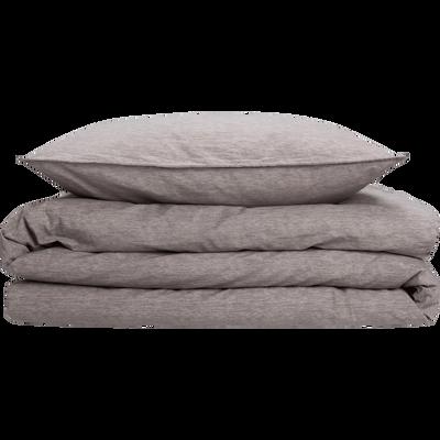 Parure de lit en percale de coton peigne Gris clair - 260x240 & 63x63 cm-GYPSE