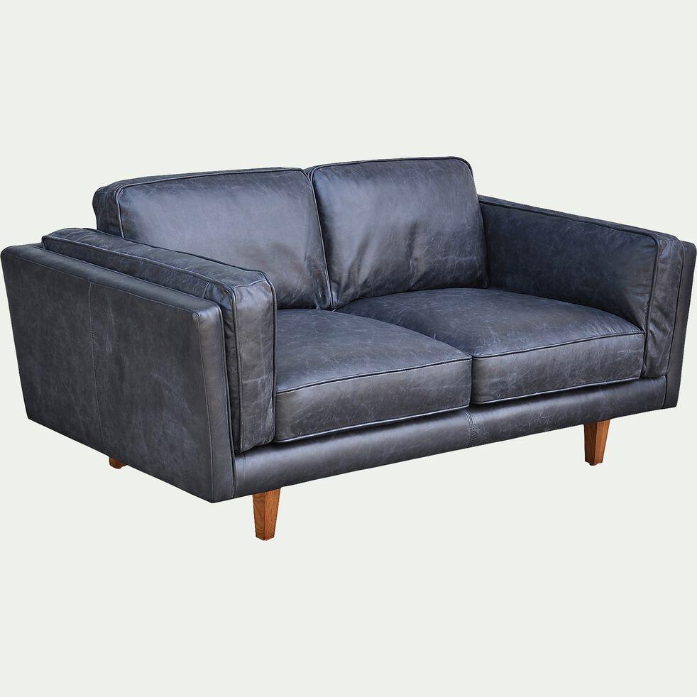 Canape 2 Places Fixe En Cuir De Vachette Noir Brooklyn Canape Droit En Cuir Alinea