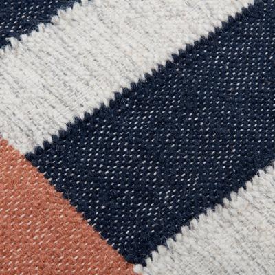 Tapis rectangulaire en coton & laine bleu 160x230 cm-KASBAH