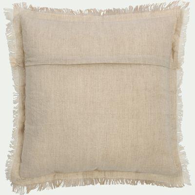 Coussin frangé en lin et coton naturel 40x40cm-DATU