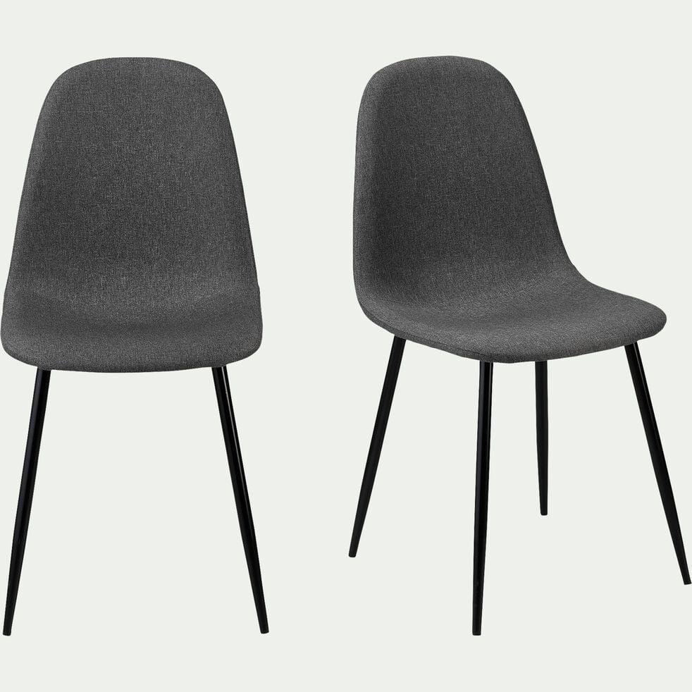 Chaise en acier pieds noirs - L53xH87xl44cm gris ardoise-LOANA