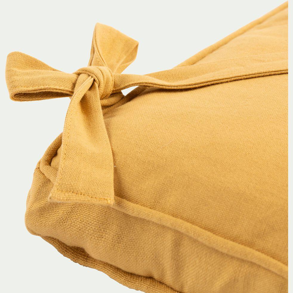 Galette de chaise à nouettes en coton - beige nèfle 38x38cm-BORMES