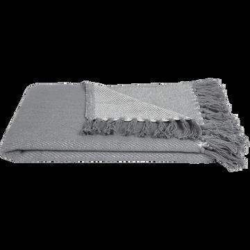 Plaid à franges en coton tissé gris borie 130x170cm-SEVILLE