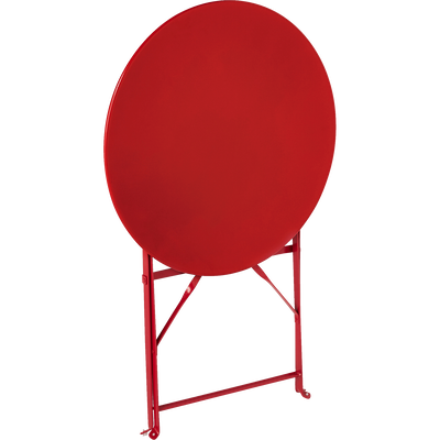 Table de jardin pliante rouge D60cm (2 places)-PIMS