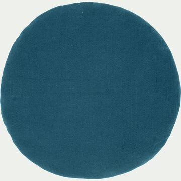 Coussin rond en ramie bleu figuerolles D40cm-RAMY