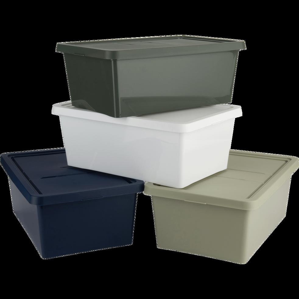 bo te de rangement en plastique bleu h19xp10 5xl34 5 cm. Black Bedroom Furniture Sets. Home Design Ideas