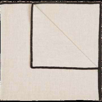 Serviette de table en coton blanc et noir 41x41cm-LINIA