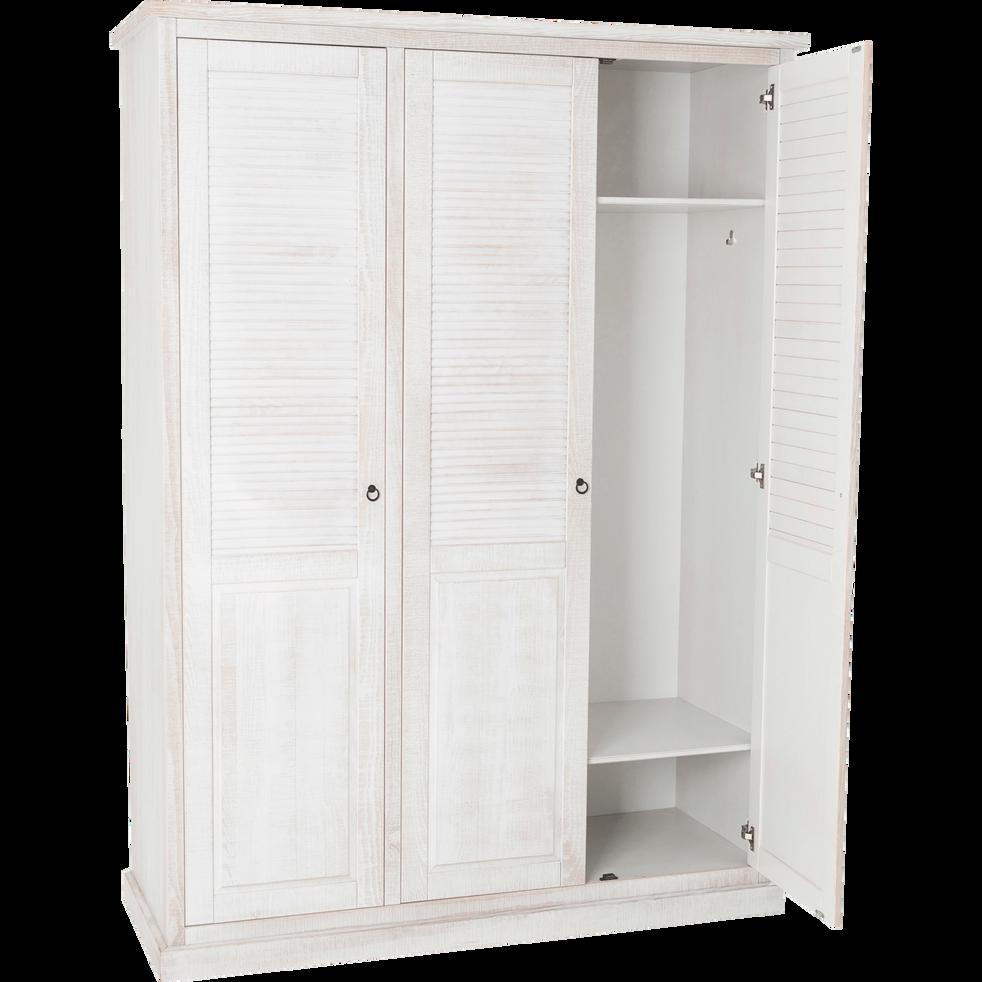 armoire 3 portes battantes en pin brossé blanc - jalousie - armoires