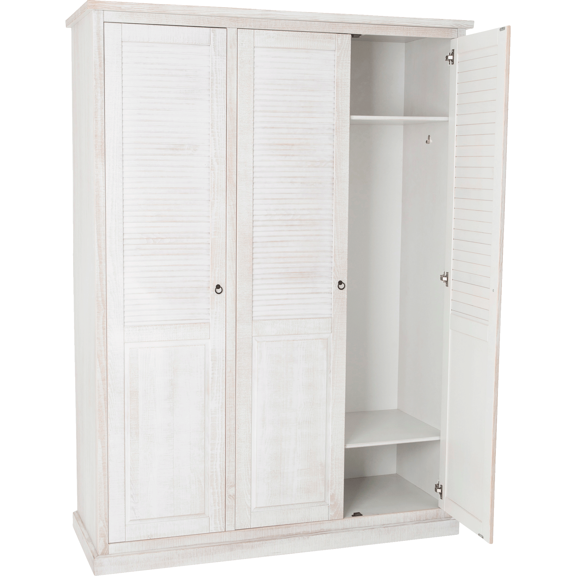 Armoire 3 Portes Battantes En Pin Brossé Blanc JALOUSIE