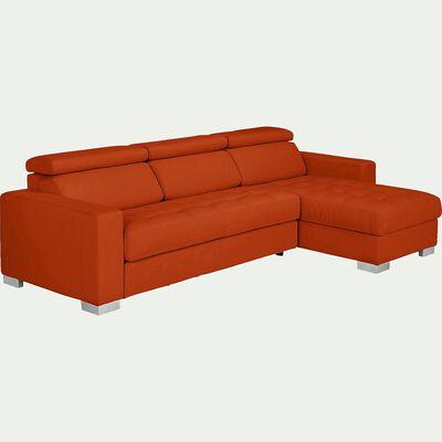 Canapé d'angle fixe réversible en tissu - rouge-Mauro