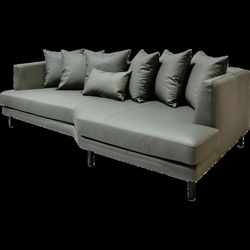 Canapé 5 places fixe droit en cuir gris restanque-TESSOUN