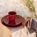 Assiette plate en faïence rouge sumac effet patiné D27cm-GASTON