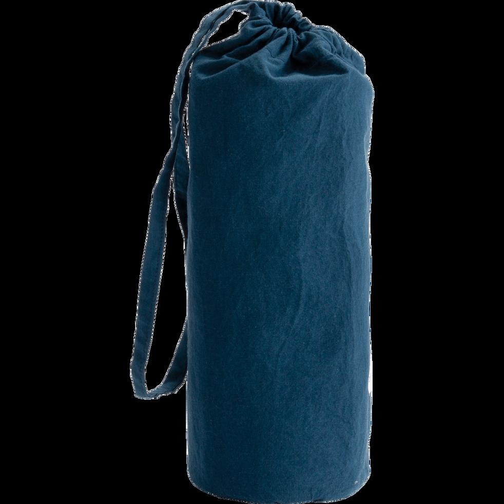 Drap housse en percale de coton lavé 70x140cm bleu figuerolles-PALOMA
