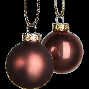 Lot de 16 boules en verre marron D3,5cm-faurre