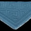 Tapis de bain en coton 50x70cm piquage en losanges bleu figuerolles-SADOU