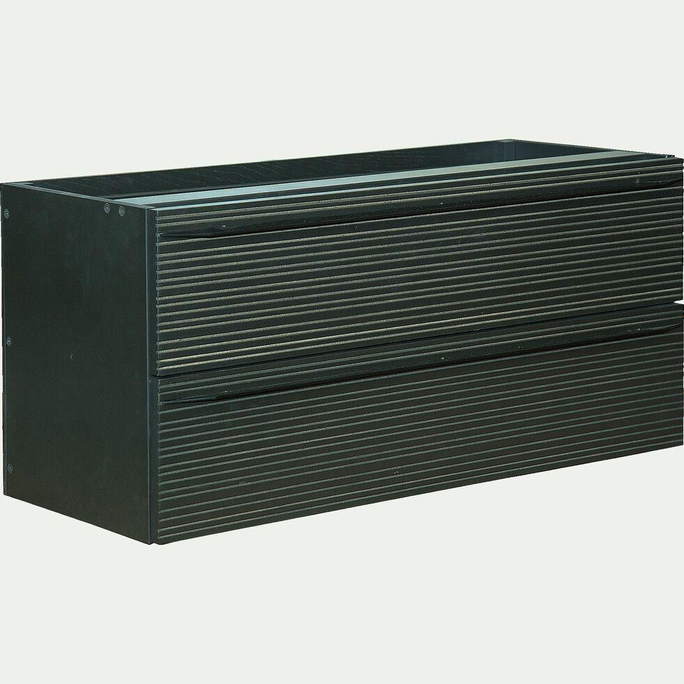 Bloc de 2 tiroirs striés format long noir-FINE