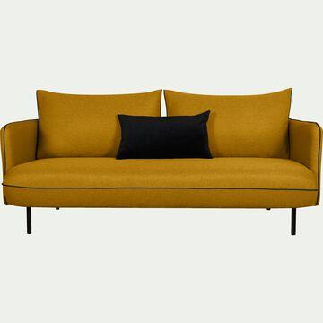 Canapé 3 places fixe en tissu jaune nèfle-SAOU