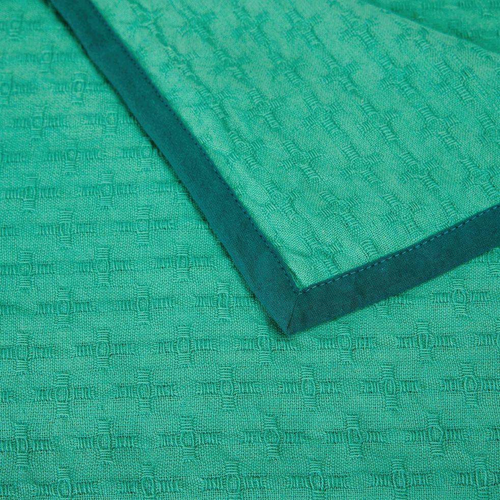 Plaid à liseré en coton - vert d'eau 130x170cm-OTTAVIA