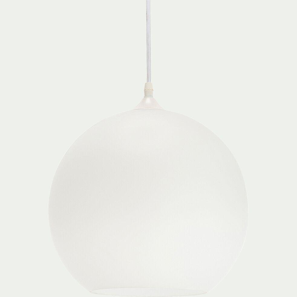 Suspension en verre opaque et métal - blanc D30cm-MARCELINO