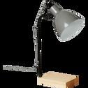 Lampe de bureau en métal gris et bois H45cm-TALIA