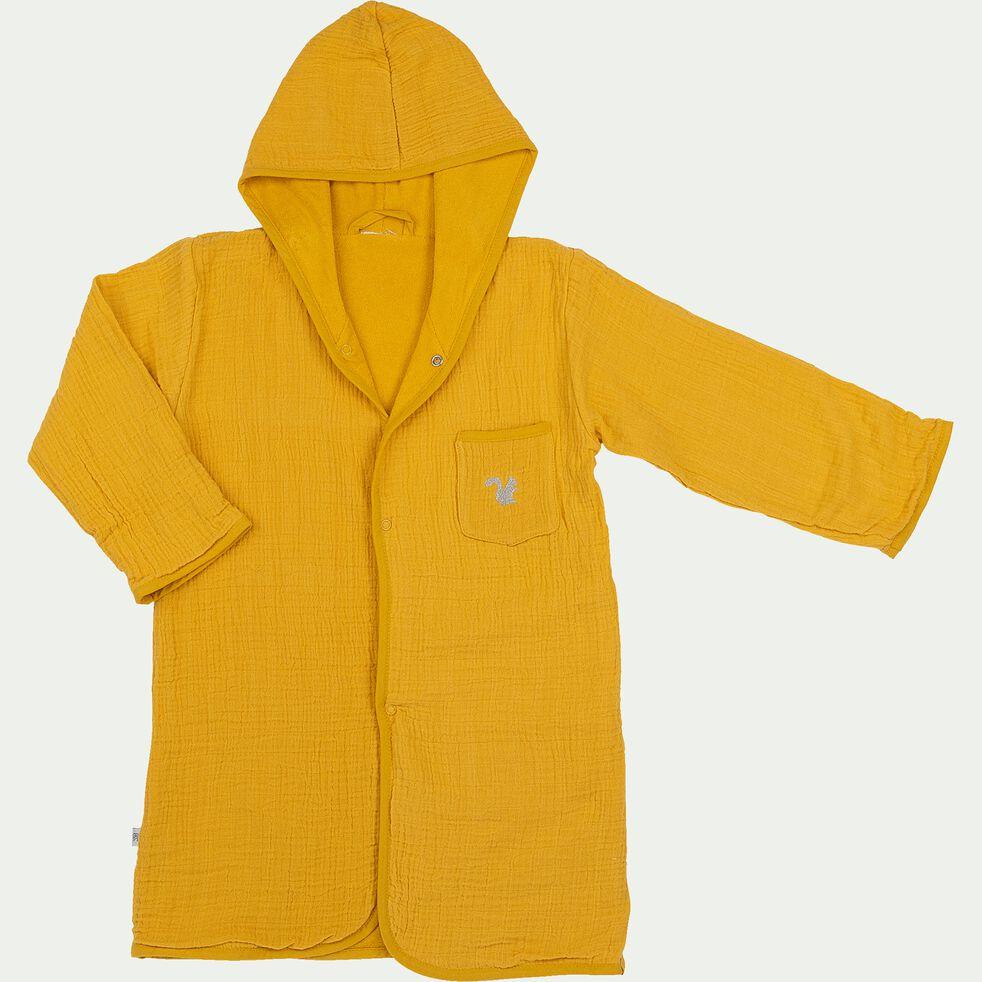 Peignoir enfant 2 à 4 ans en coton bio avec broderie lurex - jaune moutarde-Nuage