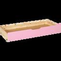 Tiroir de lit en pin massif à roulettes Rose-LILOU