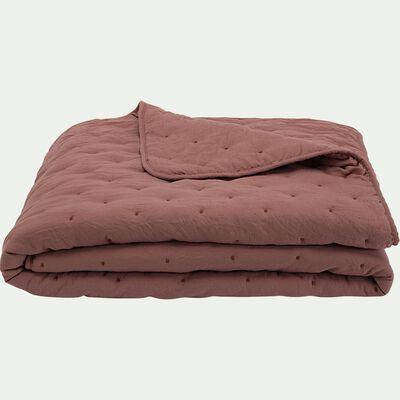 Couvre-lit effet capitonné- brun rhassoul 230x250cm-BADOUR