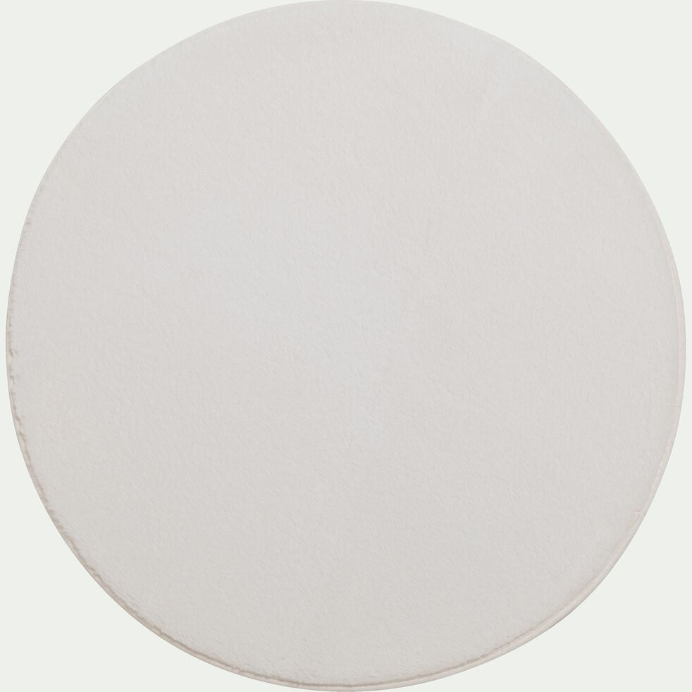 Tapis rond imitation fourrure - blanc ventoux D150cm-ROBIN