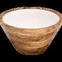 Saladier en manguier et résine blanche D30cm-APHELIE