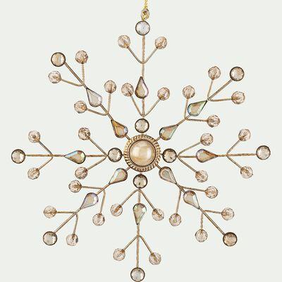 Boule de Noël flocon à strass en métal - doré D16cm-VITAE