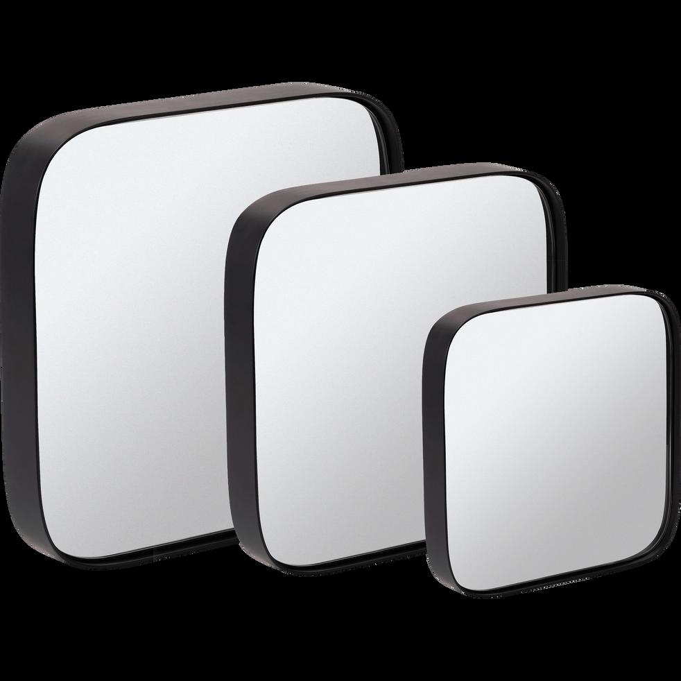 Miroir carré en bois noir L30xH30cm-CARRO