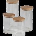 Bocal en verre H20cm avec couvercle en bambou-BILL