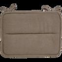 Galette de chaise déperlante taupe 38x28cm-PIMS