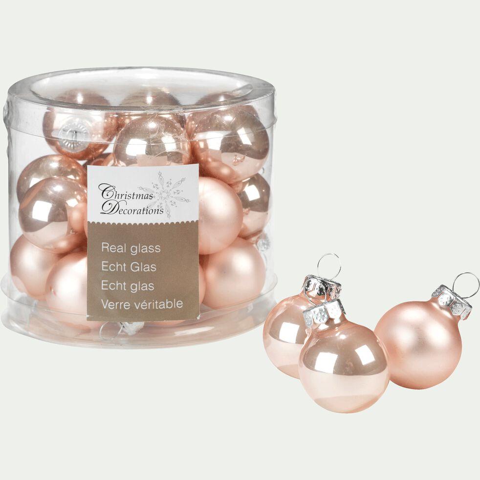 24 mini boules de Noël en verre rose D2,5cm-NIVE