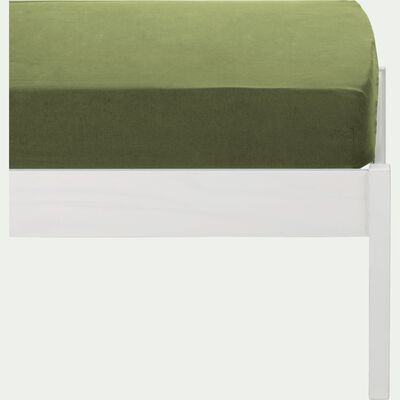Drap housse en coton lavé vert guarrigue 90x140 cm-CALANQUES