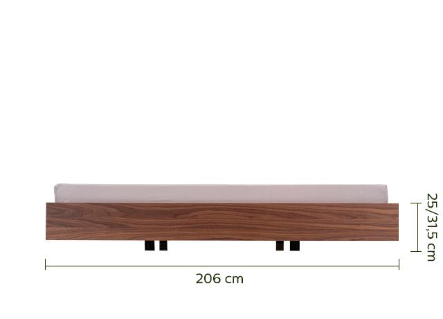 Lit 2 places en placage noyer - 140x200 cm-DUO