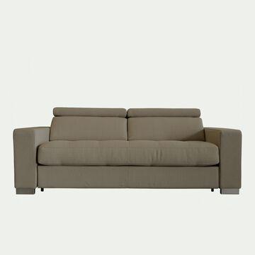 Canapé 3 places fixe en tissu - taupe-Mauro