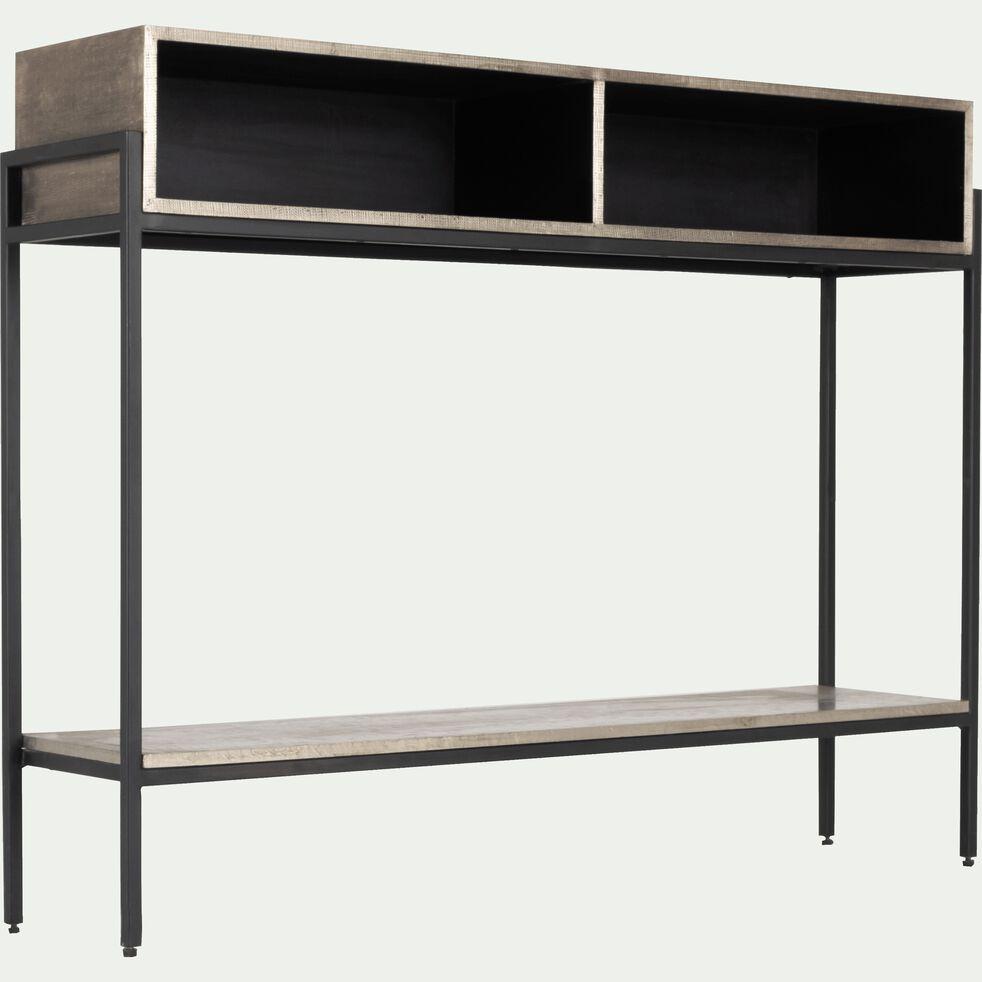 Console en métal noir et argenté 2 niches-MANY