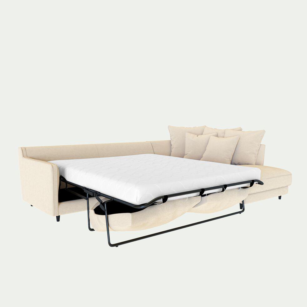 Canapé d'angle droit convertible 5 places en tissu joint - beige roucas-LENITA