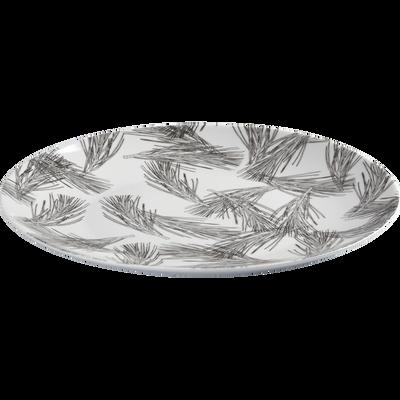 Assiette plate en porcelaine blanc capelan décorée D26.5cm-PIN D'ALEP