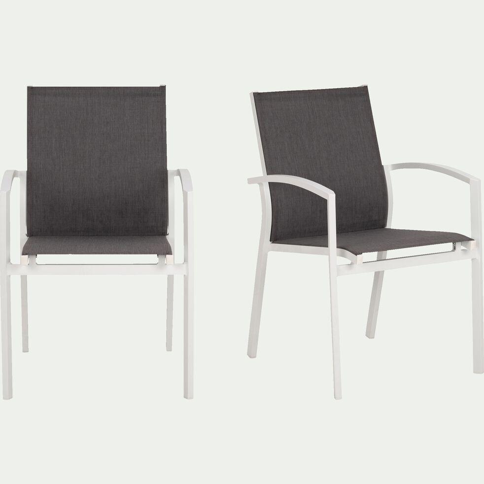Chaise de jardin avec accoudoirs en aluminium gris et blanc-LANCIANO