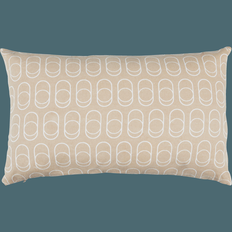 DÔME - Coussin en coton imprimé beige et