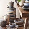 Assiette plate en porcelaine à motifs jasmin - bleu figuerolles D26,8cm-AIX