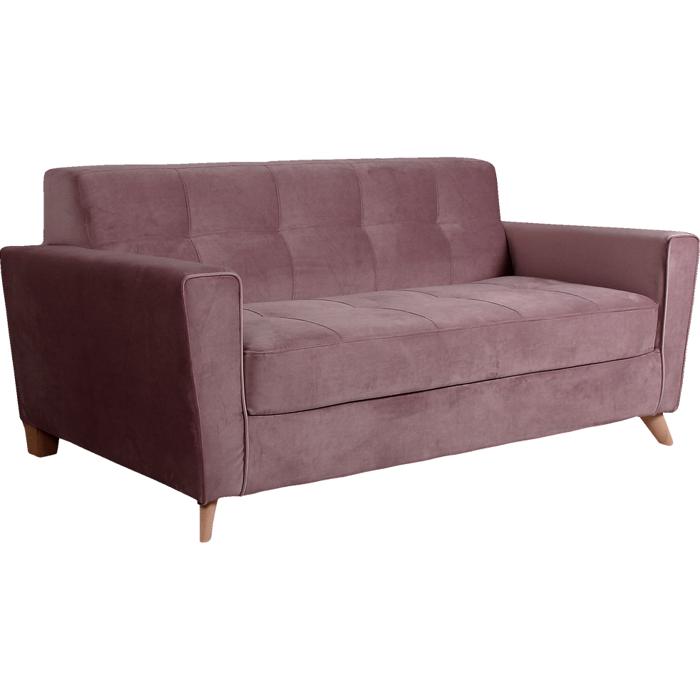 canap 3 places convertible en velours rose vicky canap s droits en tissu alinea. Black Bedroom Furniture Sets. Home Design Ideas