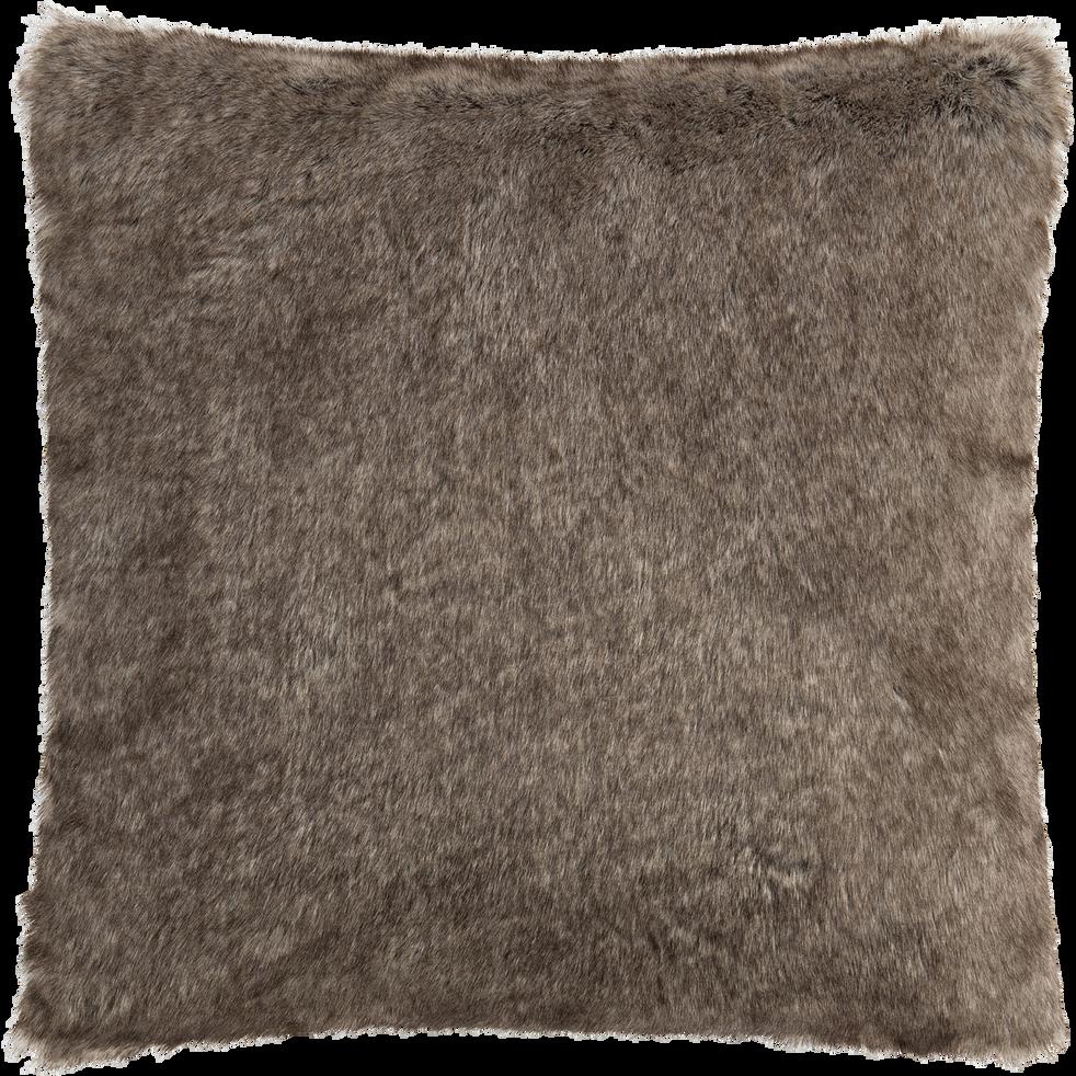 Coussin polyester et acrylique marron 45x45cm-GUSTAVE