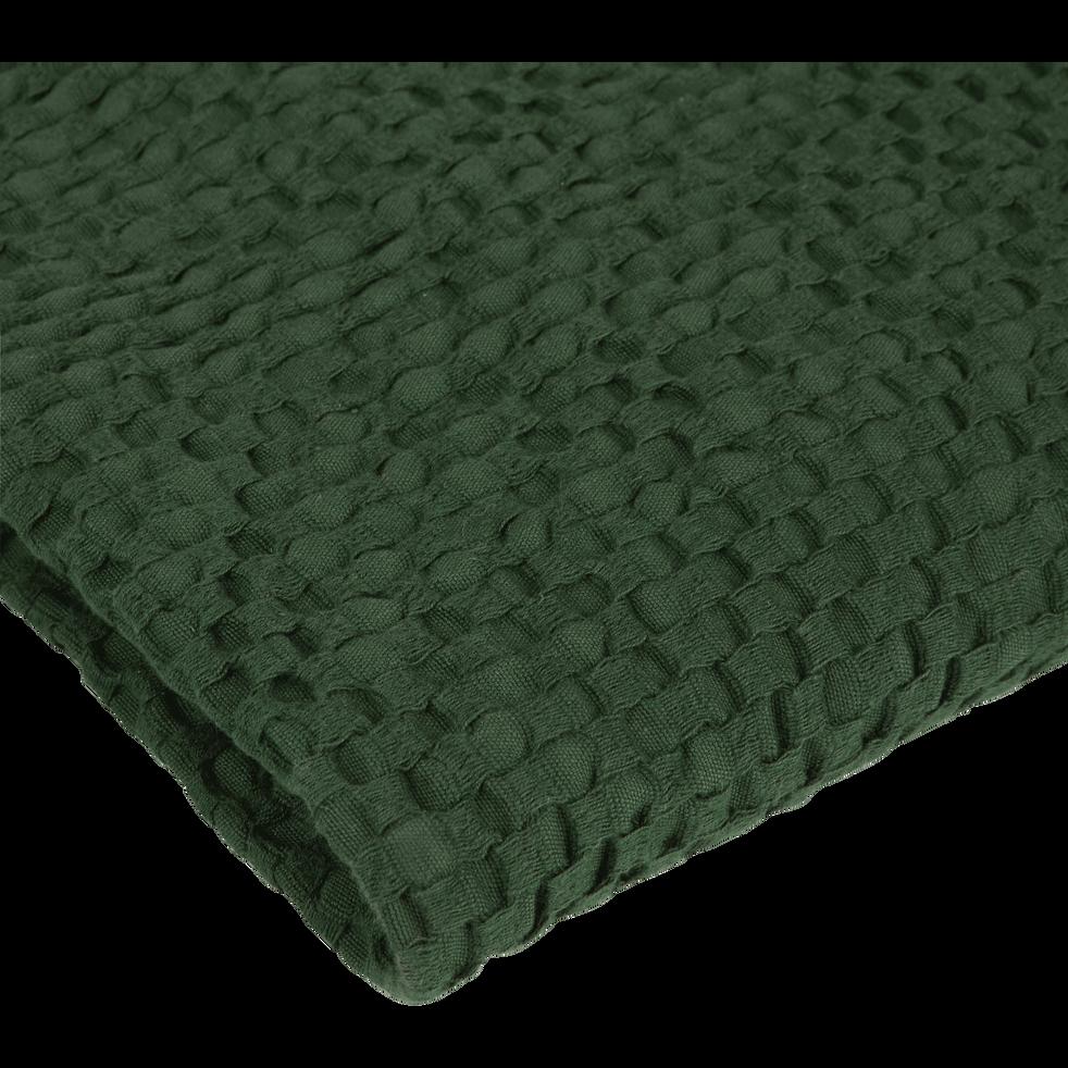 Drap de douche vert cèdre en coton nid d'abeille-CLEMATIS
