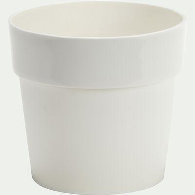 Cache-pot blanc en plastique H14,5xD16cm-B FOR