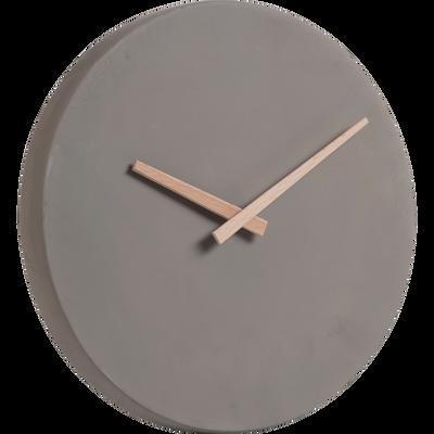 Horloge en ciment taupe aiguilles en bambou D27cm-Cemento