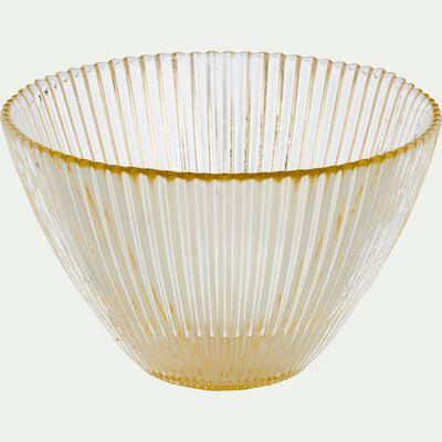 Coupelle en verre strié doré D14.5cm-SUPERBE