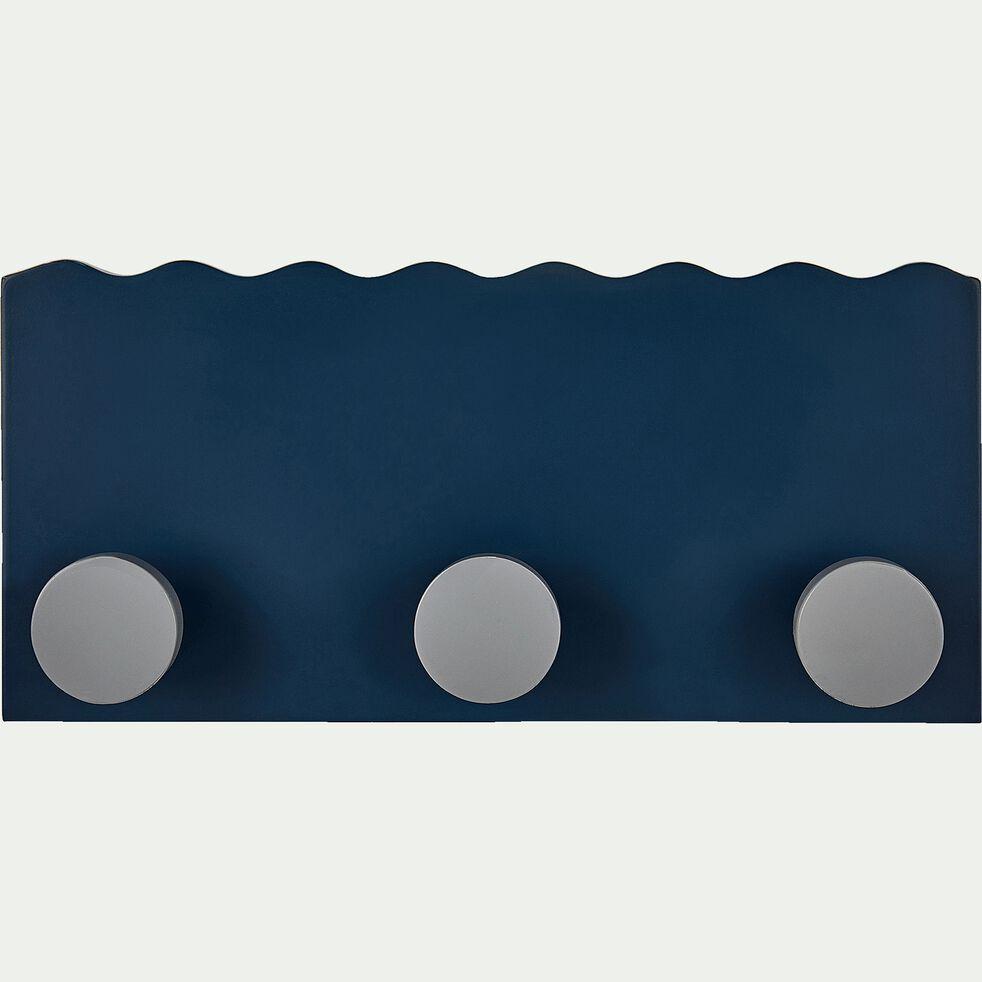 Patère en bois avec 3 points d'accroche - bleu figuerolles-Penjadou
